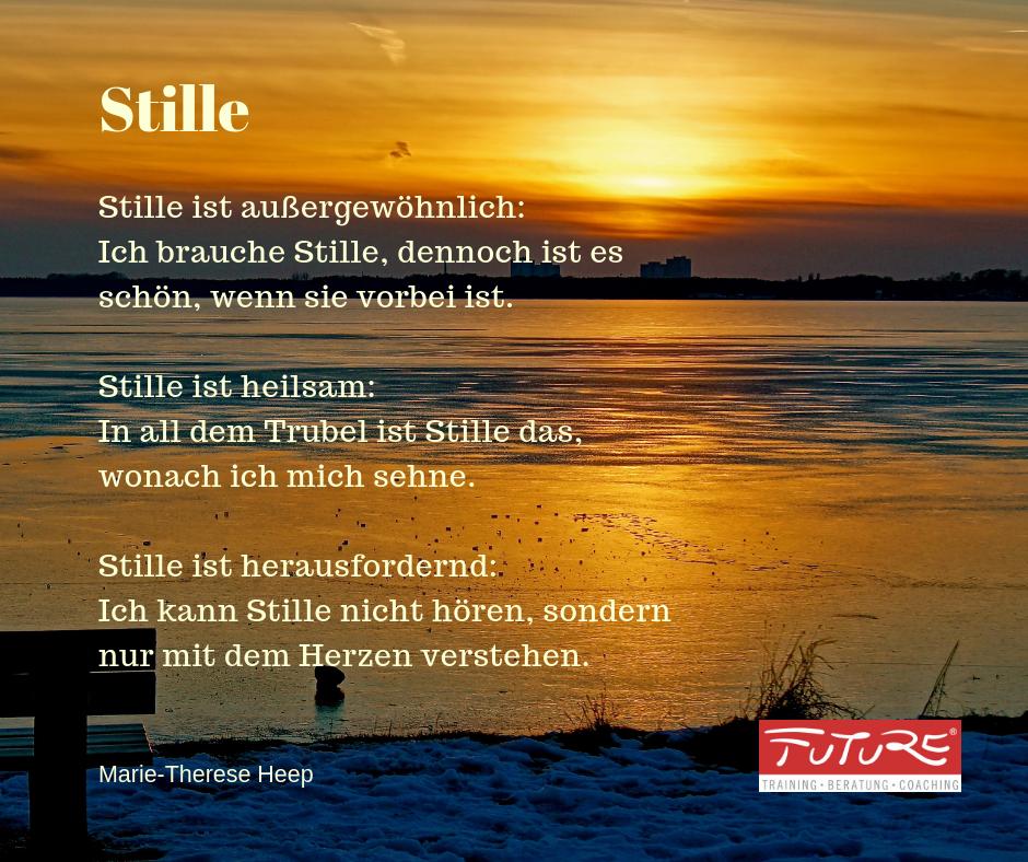 Stille Zitat Marie-Therese Heep - Stille ist außergewöhnlich: Ich brauche Stille, dennoch ist es schön, wenn sie vorbei ist. Stille ist heilsam: In all dem Trubel, ist Stille das, wonach ich mich sehne. Stille ist herausfordernd: Ich kann Stille nicht hören, sondern nur mit dem Herzen verstehen.
